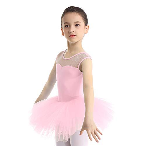 inlzdz Enfant Fille Justaucorps de Danse Ballet Classique Tutu Danse Robe Patinage Gymnastique Léotard Gym Sport Tulle Robe sans Manche Costume Ballerine Dancewear 4-12 Ans Rose A 8 Ans