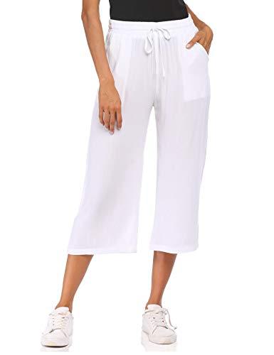 Wildtrest Women's Elastic Waistband Capri Lightweight Cotton Comfy Lounge Solid Color Crop Pant (White M)