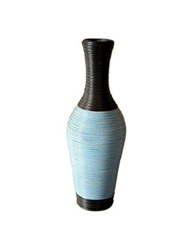 Hogar y Mas vaas van polyrotan met binnenstructuur van hout, zeer kleurrijk – etnische design van het huis en de Plus