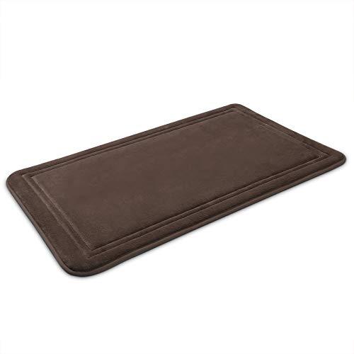 ITSOFT Memory Foam Bath Mat Non Slip Absorbent Super Cozy Velvet Bathroom Rug Carpet, Machine Washable, 31 x 20 Inches Chocolate Brown
