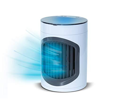 LIVINGTON SmartChill | kompaktes Luftkühlsystem | 3 Geschwindigkeits- und Kühlungsstufe | mobil | waschbarer SMART-Filter | LED-Nachtlicht | Das Original aus dem TV