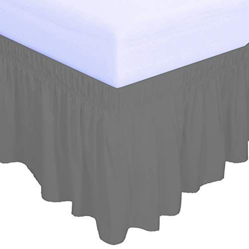 PureFit Wrap Around Ruffled Bed Skirt with Adjustable...