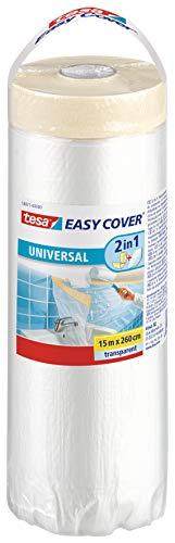 tesa Easy Cover Film UNIVERSALE - Telo Copritutto per Pittura 2 in 1 con Biadesivo in Carta - 25 m x 260 cm