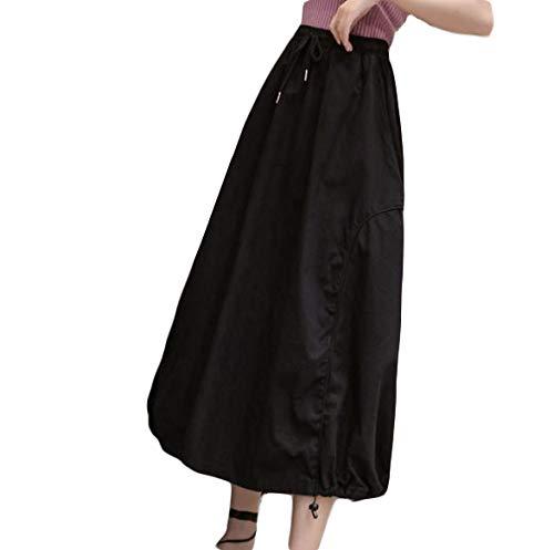 [Ksila]スカートレディースロング丈バルーンスカートシンプルコクーンAラインウェストゴム体型カバー着痩せボトムスカジュアル無地黒スカートおしゃれ(FREESIZE黒)