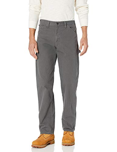 Dickies Men's Relaxed Fit Straight-Leg Duck Carpenter Jean, Slate, 34W x 32L