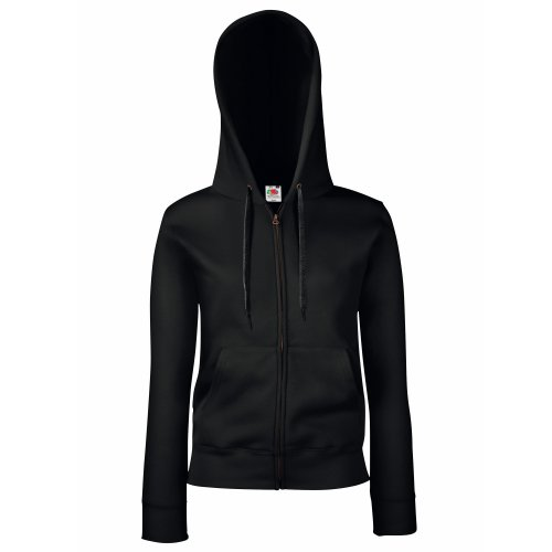 Fruit of the Loom Premium Hooded Sweatjacke Lady-Fit - Farbe: Black - Größe: M
