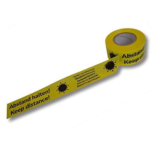 1 Rolle super stabiles Absperrband Druck Abstand HALTEN - Keep Distance - 7-sprachig - Flatterband Warnband Trassenband Folienband Parkplatzsperre Baustellenabsperrung Plastikband gelb 75mm (250m)