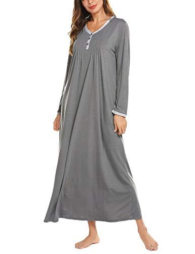Ekouaer - Camisón de manga larga para mujer, estilo informal con botones, Henley, vestido de dormir largo, Suave, XXL, A_gris oscuro.