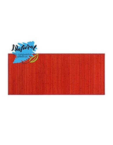 Alfombra de bambú pasillera Natural para Entrada o Pasillo de Color Rojo...