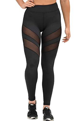FITTOO Mallas Leggings Mujer Yoga de Alta Cintura Elásticos y Transpirables para Yoga Running FitnessG32K #2 Negro Large