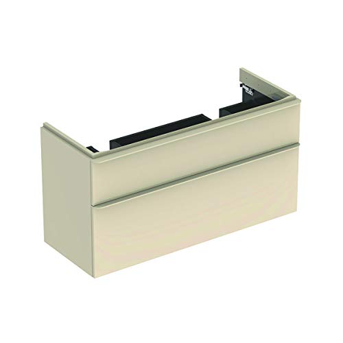 Geberit Smyle Square Waschtischunterschrank für Doppelwaschtisch, 500356, 1184x617x470mm, mit 2 Schubladen, Farbe: Sand-grau Hochglanz Lack - 500.356.JL.1