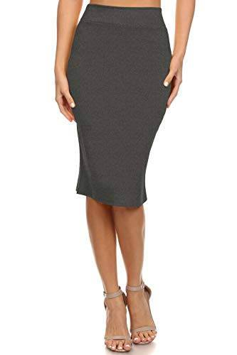 Womens Below the Knee Pencil Skirt for Office Wear - Made in USA, Charcoal, Large