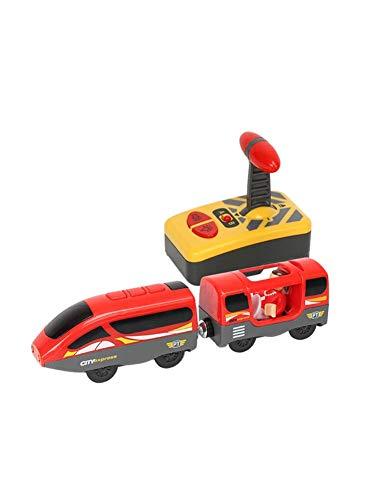 ZQYX Holzeisenbahn Elektrische Hohe Geschwindigkeit Spielzeug, Magnetisch Verbunden Elektrischer Kleiner Zug Magnetisch Schiene Spielzeug Kompatibel Mit Holzschienen Für Kinder Geschenk