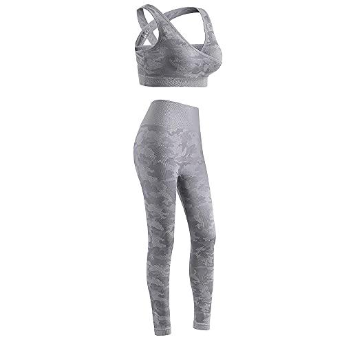 qqff Gimnasio Fitness Mujer Yoga Traje Entrenamiento,Traje de Dos Piezas para Correr de Fitness Femenino,Traje de Gimnasia-Gris_L,Mallas Deportivas Mujer Padel
