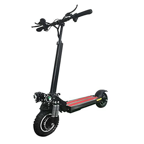 SAFGH Scooter eléctrico Plegable, Scooter eléctrico portátil, decoración de Flash, Cuerpo de aleación de Aluminio de Doble tracción Delantera y Trasera, 2 Faros LED/neumáticos de 10 Pulgadas / 2