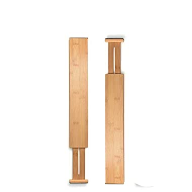 Bamboo Kitchen Drawer Organizers Spring Adjustable & Expendable Drawer Dividers, Made of 100% Organic Bamboo - Best for Kitchen, Dresser, Bedroom, Baby Drawer, Bathroom, Desk. (Set of 2) by Bambusi