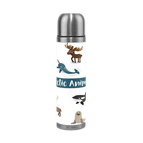 Ahomy isolée sous Vide Mug de Voyage Dessin animé Mignon Arctic Animaux Joint Fox Pingouin Moose Ours Thermos en Acier Inoxydable Bouteille d'eau 500 ML