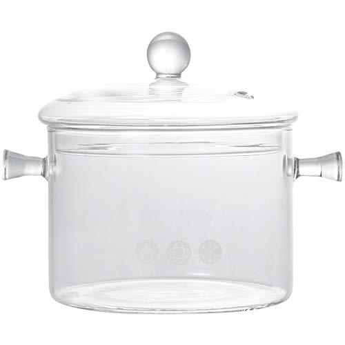 バイノーラルガラススープ鍋、ふたが付いているガラス鍋、透明な家庭用ガラススープ鍋、非常に耐熱性、ホールドスープに最適、温かい料理