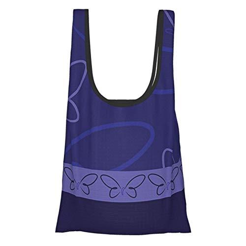VimcustomPr Marineblaues Dekor, florales Schmetterling-Design mit Schmetterlings-Bordüre, Kunstdruck, weiß, blau und marineblau, wiederverwendbar, faltbar, umweltfreundliche Einkaufstaschen
