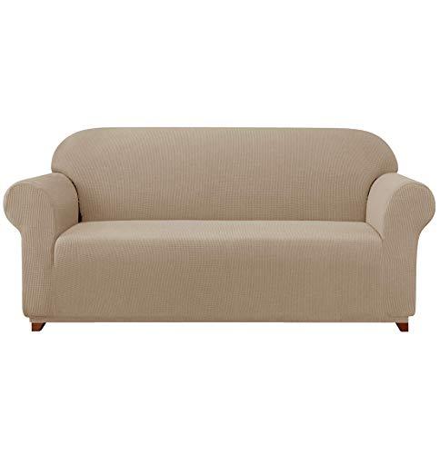 subrtex 1 Pieza Funda Sofa Elasticas Fundas de Sofa Antideslizante Cubierta Forros para Sofas Ajustable Protector (2 Plazas, Arena)