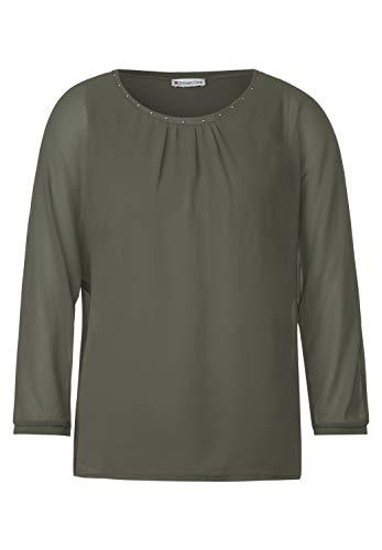 Street One Damen 315252 3/4 Arm 2in1 Chiffonshirt mit Top T-Shirt, Shady Olive, 36