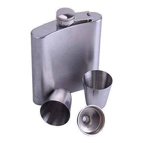 Roestvrijstalen heupfles van roestvrij staal cadeauset   vultrechter + 2 bekers geniet-passet 200 ml / 7 oz