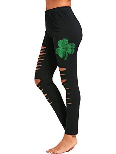 Women St. Patrick's Day Shamrock Leggings Clover Leaves Soft Pants Tights(G,S)