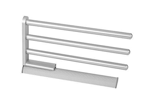 Design Handtuchstange ausziehbar Geschirrtuchhalter - SARAH   Handtuchhalter dreiarmig   Aluminium natur eloxiert   Länge ausgefahren 516 mm   1 Stück - Handtuchreling 3-armig für Schrank-Montage