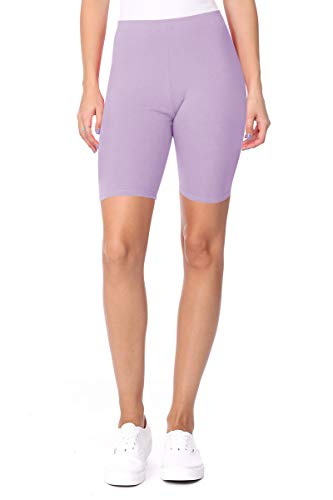 FashionJOA Casual Cotton Spand Comfy Elastic Band Waist Active Biker Shorts Pants S-3XL Heather Lavender 1XL