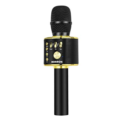 BONAOK Karaoke Microphone Bluetooth Wireless, Portable Karaoke Machine Mic Speaker for Kids and Adults Home Party Birthday(Black Gold)