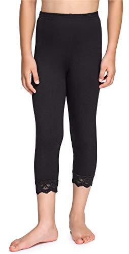 Merry Style Mädchen 3/4 Leggings aus Baumwolle mit Spitze MS10-228 (Schwarz, 140 cm)
