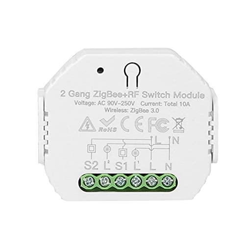 Montloxs Zigbee Módulo de Interruptor Inteligente ZigBee + RF de 2 Bandas con App/Control Remoto por Voz Temporizador de programación/Dispositivo compartido Mini Smart Home On/Off Controller