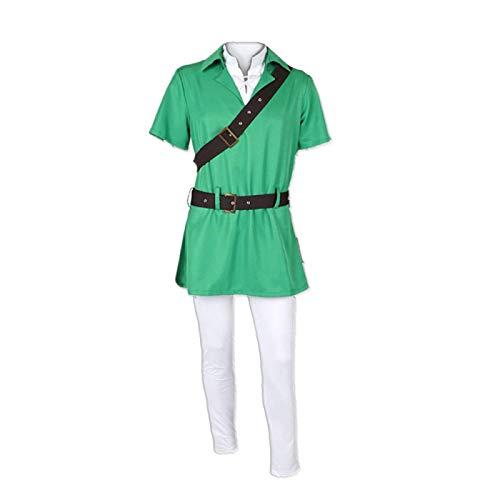 ULLAA 5PCS The Legend of Zelda Link Juego de Disfraz de Cosplay, Traje con Capucha, Uniformes, Sudadera, Jersey, Ropa de Carnaval de Halloween