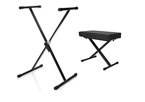 Sgabello/Panca + Stand Supporto a X per Piano e Tastiera Specter