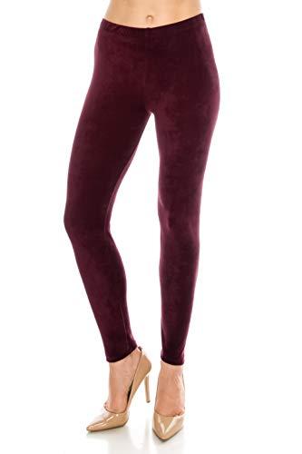 ALWAYS Women's Stretch Velvet Leggings - Premium Soft Warm Winter Solid Basic Pants Burgundy Plus Size