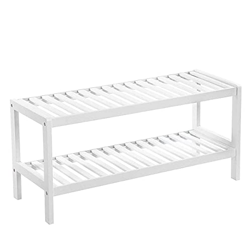 Mediawave Store - Zapatero multiusos de madera blanca con 2 estantes, banco de almacenamiento blanco, zapatero, mueble bajo de entrada, salón, mueble baño 33 x 70 x 26 cm