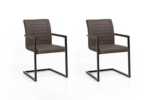 2 x Woodkings® Schwingstuhl Picton Freischwinger mit Armlehne schwarz Metall und Kunstleder marmoriert braun