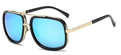 Lovelegis Gafas de sol para hombre - tony stark - iron man - vintage - retro - niño - espejo - montura dorada - lente azul