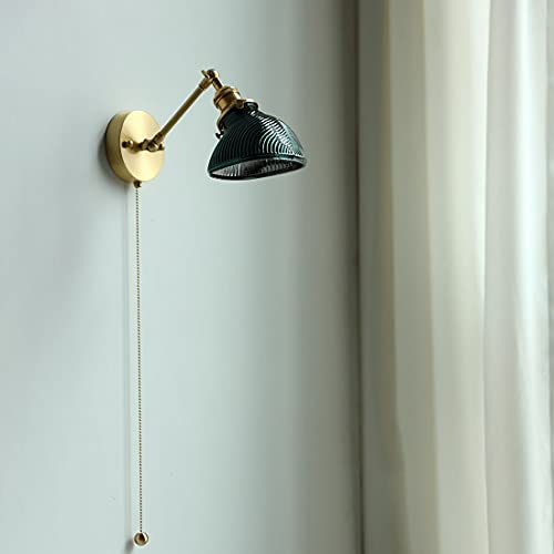 LMAMZ Aplique de Pared Moderna Ajustable, Lámparas de Lectura Cabecera con 50cm Interruptor de Cremallera y Pantalla de Vaso, Luz de Pared Interior para Dormitorio Sala de Estar, E27,Verde