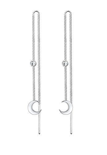 Elli Pendientes de media luna para mujer con solitario de cristal en plata de ley 925