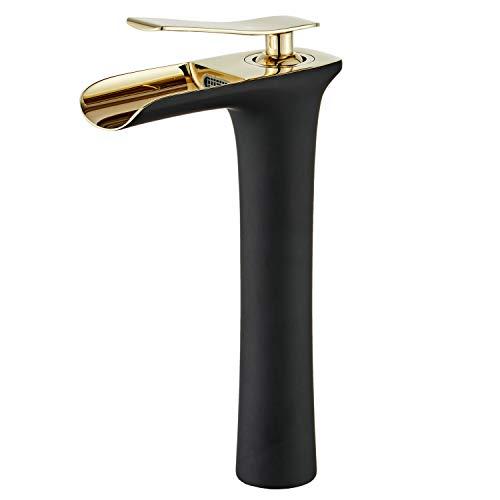 Leekayer - Grifo monomando para lavabo de baño (acabado en cromo dorado/negro con 1 agujero), color bronce