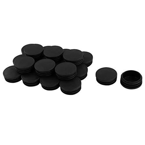 sourcingmap Pied Table Meuble Tube Rond plastque Noir Couver Insert Tuyau Dia 45mm 20pcs