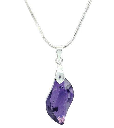 De cristal morado Amatista con onda en forma de lámpara de techo con forma de Drop/collar con colgante en forma