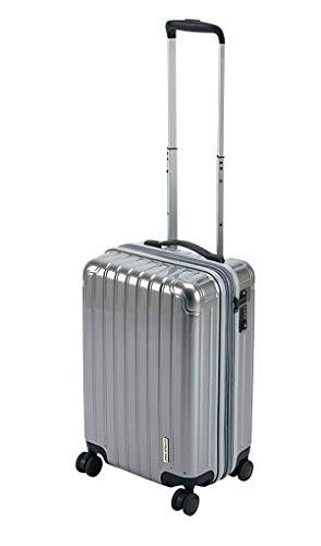 キャプテンスタッグ(CAPTAIN STAG) スーツケース キャリーケース キャリーバッグ 超軽量 TSAロック ダブルホイール 360度回転 静音 ダブルファスナータイプ 機内持込 Sサイズ シルバー パルティール UV-78