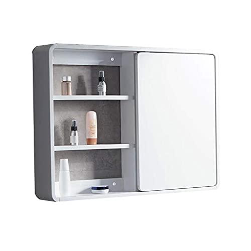 WLABCD Lustro ścienne montowane na ścianie lustro do makijażu szafek łazienkowych drewno ukryte Feng Shui szafa przesuwna z nowoczesnymi półkami, biała, 100 * 14 * 65 cm