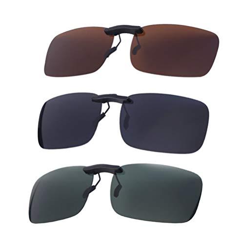 1 Lente Polarizada Abatible con Clip de 3 Piezas para Gafas Graduadas Gafas de Sol con Protección UV (Película Gris Película Verde Oscuro Y Película de Café)