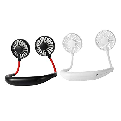 IPOTCH Ventilador con Banda para El Cuello Recargable USB Novedad Descanso Lazy Dual Fan 3 Travel