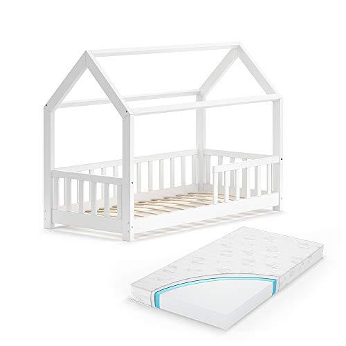 VitaliSpa Kinderbett Hausbett Spielbett Wiki 80x160 inkl Lattenrost (Weiß, mit Matratze)
