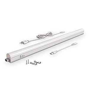B.K.Licht - Regleta LED bajo armarios y cabinetes, de luz blanca neutra, iluminación bajo mueble con interruptor de luz, 15 W, 4000 K, 1200 lm, color blanco