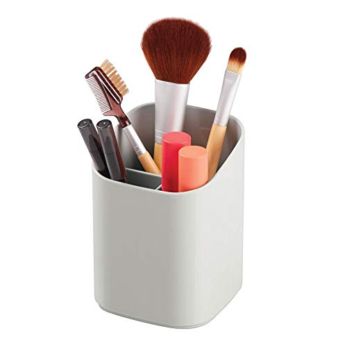 mDesign Plastic Makeup Organizer Storage Cup for Bathroom Vanity Countertop or Cabinet to Hold Brushes, Lipstick, Mascara, Brow Pencils, Eye Liners, Tweezers, Beauty Products - Light Gray
